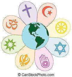 mundo, unido, paz, religiones, flor