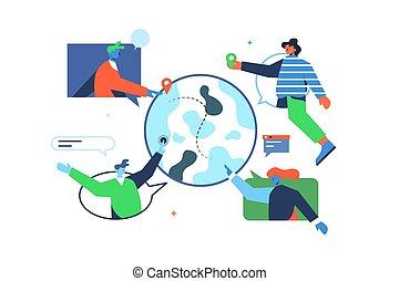 mundo, usuarios, internet, alrededor, concepto