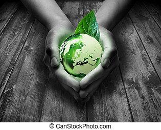Mundo verde en la mano del corazón - gra