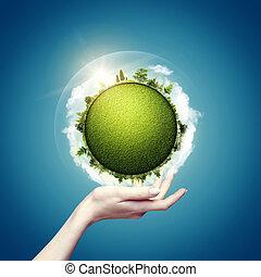 Mundo verde en nuestras manos, fondos ecológicos abstractos para tu diseño