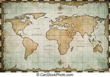 mundo, viejo, viejo, mapa