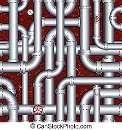Muralla de ladrillos con tuberías
