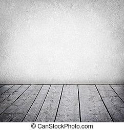 Muralla grunge y piso de madera, interior de una habitación.