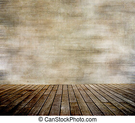 Muralla grunge y suelo de madera