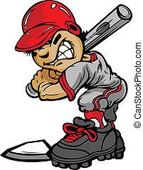 murciélago, imagen, vector, beisball, tenencia, bateador, niño