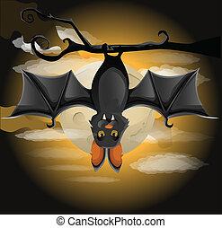 murciélago, rama, ahorcadura