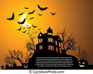 murciélagos, obsesionado, halloween, casa, calabaza