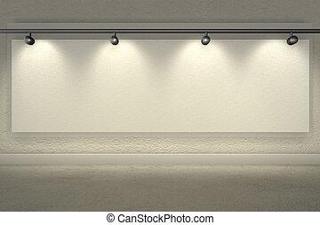 Muro iluminado brillantemente con focos y espacio de copia en blanco - 3D de interpretación