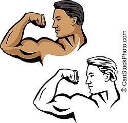 Muscular masculino flexión de brazos bíceps, posar con la cabeza de lado, ilustración vectorial