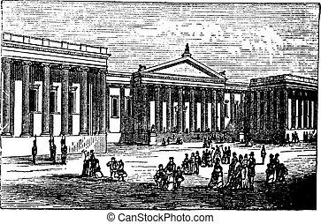 Museo Británico en Londres, Reino Unido (Inglaterra), grabado vintage de 1890