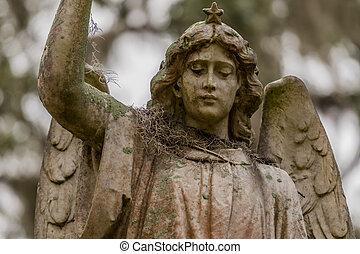 Musgo español en el hombro de la estatua de ángel