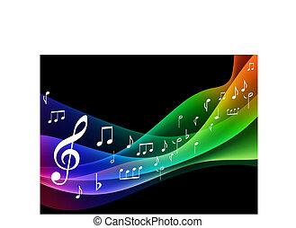 musical, color, onda, espectro, notas