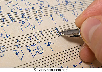 musical, plano de fondo, -, música hoja, pluma, mano