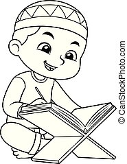 musulmán, bw, lectura chico, corán