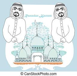 Musulmán rezando a Medina sagrada ciudad islámica