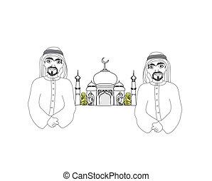 Musulmanes rezando en la medina sagrada ciudad islámica