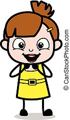 Muy emocionada, chica linda dibujo animado ilustración vectorial del personaje
