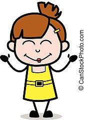 Muy feliz, chica linda dibujo animado ilustración vectorial de personaje