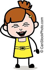 Muy gracioso, chica linda dibujo animado ilustración vectorial del personaje