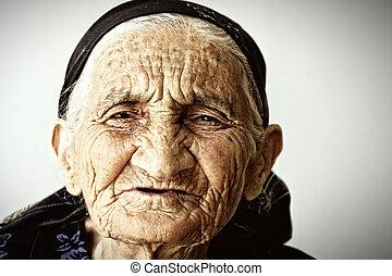 muy, mujer, viejo, cara
