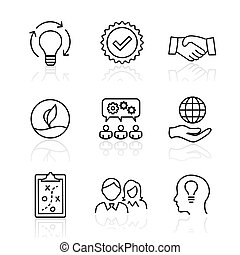 núcleo, honradez, conjunto, meta, colaboración, -, foco, valor, pasión, visión, valores, misión, integridad, o, icono