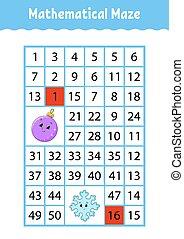 número, caricatura, characters., page., juego, maze., children., matemático, educación, kids., rectángulo, worksheet., labyrinth., actividad, adivinanza
