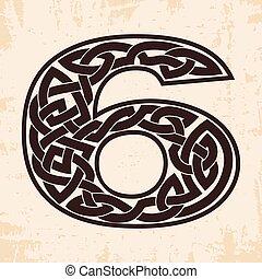 número, celta, ornament.