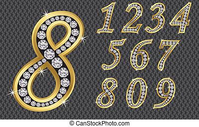Número fijado, de 1 a 9, ingenio dorado