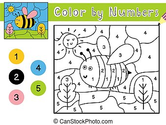 número, kids., colorido, página, bee., juego, color, worksheet, lindo, printable