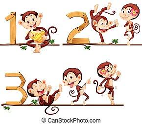 número, monos, tres, uno