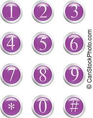 Números - botón violeta. [vector]