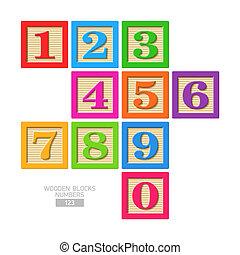 Números de bloque de madera
