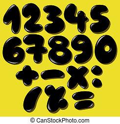 Números de burbujas negras