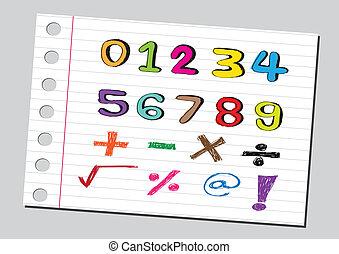 Números de sketch y simbología matemática