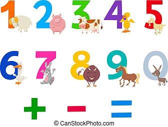 Números educativos con animales de granja