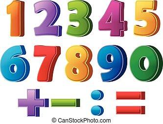 números, matemático, operaciones, colorido