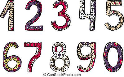 Números ornamentales dibujados a mano