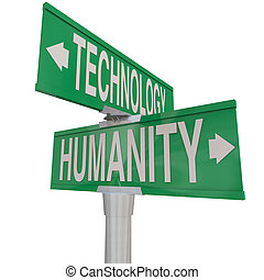 na, edad, moderno, contra, digital, intersección, tecnología, humanidad
