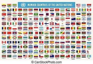 naciones, banderas, unido, miembros, países