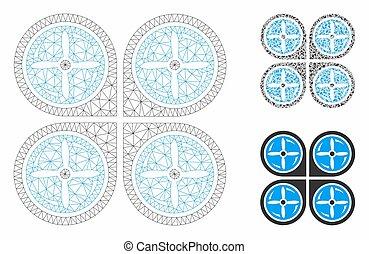 Nanocopter tornillos vector rotación vector mesh cuadro modelo de alambre y icono mosaico triángulo