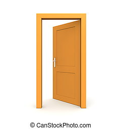 naranja, abierto, solo, puerta