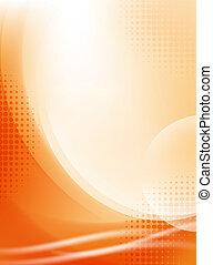 Naranja abstracta que fluye con la mitad