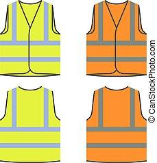 naranja, amarillo, chaleco, reflexivo, seguridad