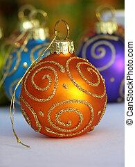 naranja, bauble de navidad