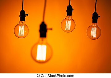 naranja, bombilla, lámparas, multitud, plano de fondo