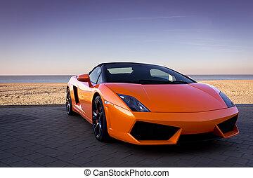 naranja, coche, lujoso, playa, deportes