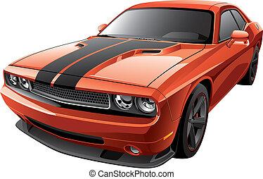 naranja, coche, músculo