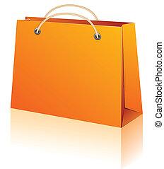 naranja, compras, bag.