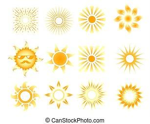 naranja, conjunto, sol, vector, iconos, diferente
