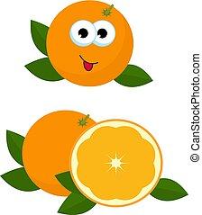 Naranja entera y rodaja de naranja con hojas naranja. Ilustración de vectores de naranjas. Adorable personaje de dibujos animados naranja con cara, ojos y boca aisladas en fondo blanco